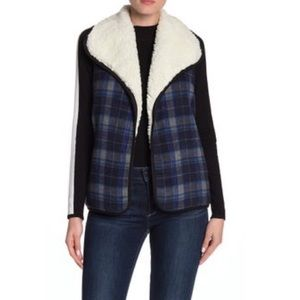 NWT Melrose and Market Faux Shearling Plaid Vest
